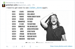 allen stone tweets gretchen cello